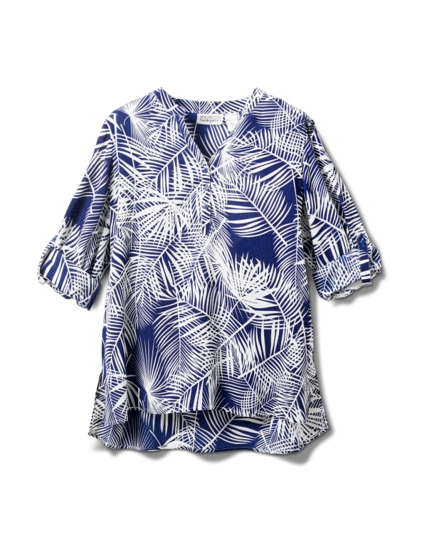 Palm Print Woven Popover - Navy - Front