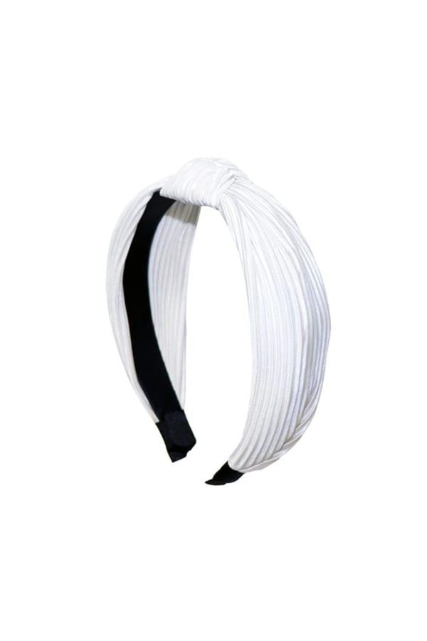 Pleated C-Shaped Headband - White - Front