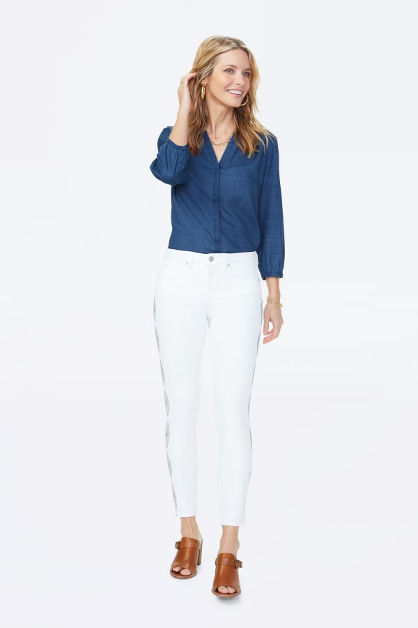 NYDJ Ami Ankle Jeans with Diamond Trail Embroidery - Optic White - Front