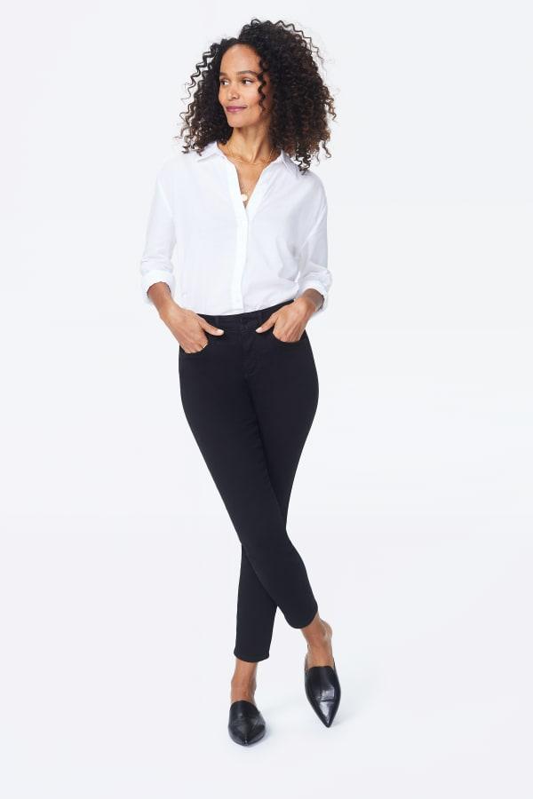 NYDJ Skinny Ankle Jeans - Black - Front