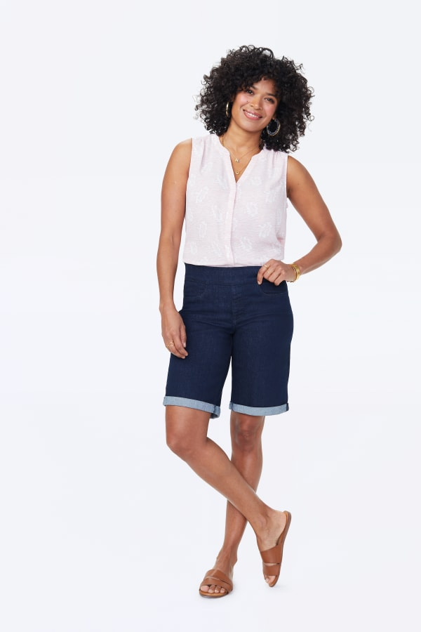 NYDJ Pull On Shorts with Rolled Cuff - Rinse - Front