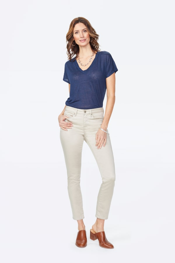 NYDJ Sheri Slim Cut Sateen Classic Five-Pocket Zip Fly Jeans - Feather - Front
