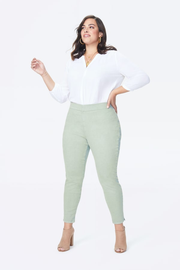 NYDJ Pull On Skinny Ankle Jeans with Slit Hem - Desert Willow - Front