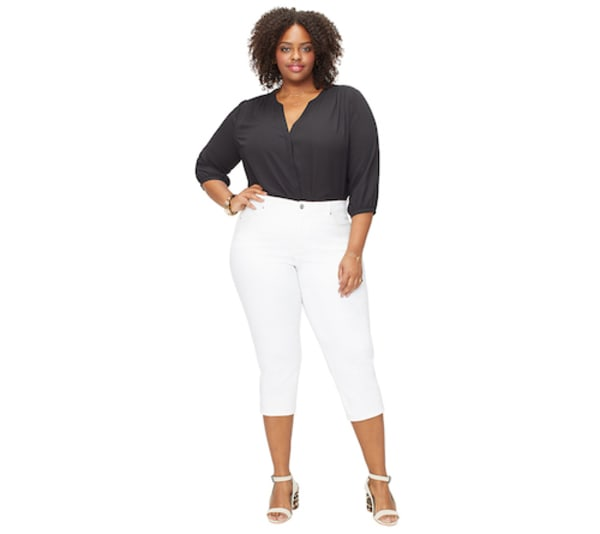 NYDJ Capri Pants with Side Slits - Optic White - Front