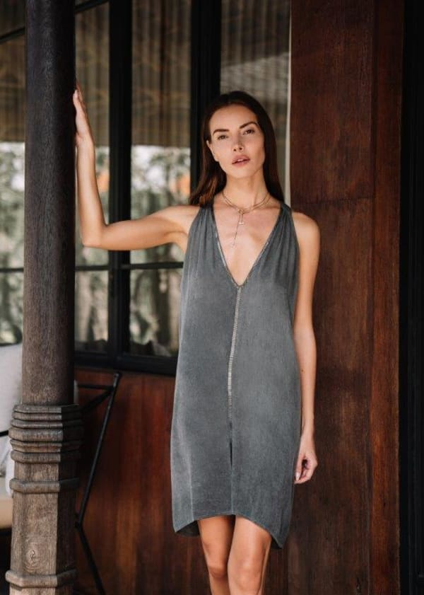 Nicky Dress - Charcoal - Front