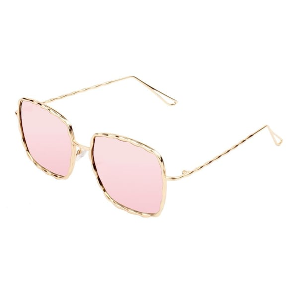 Fashionable Square Sunglasses - Gold-Pink - Front