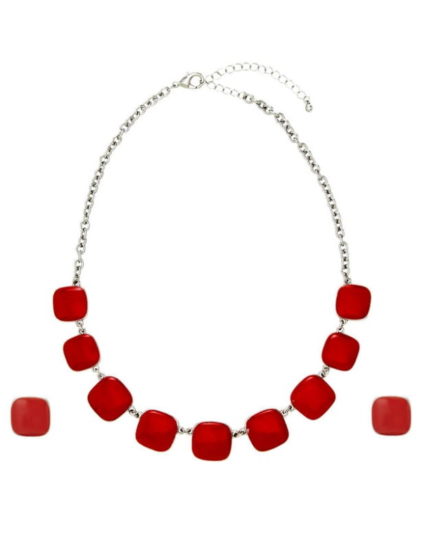 Square Drop Set - Silver/Red - Front