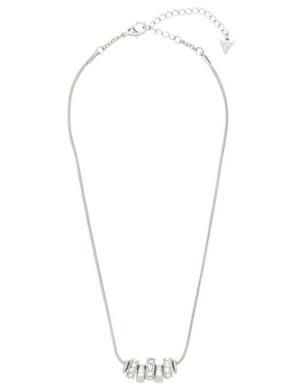 Ring Charm Drop Necklace - Silver - Front