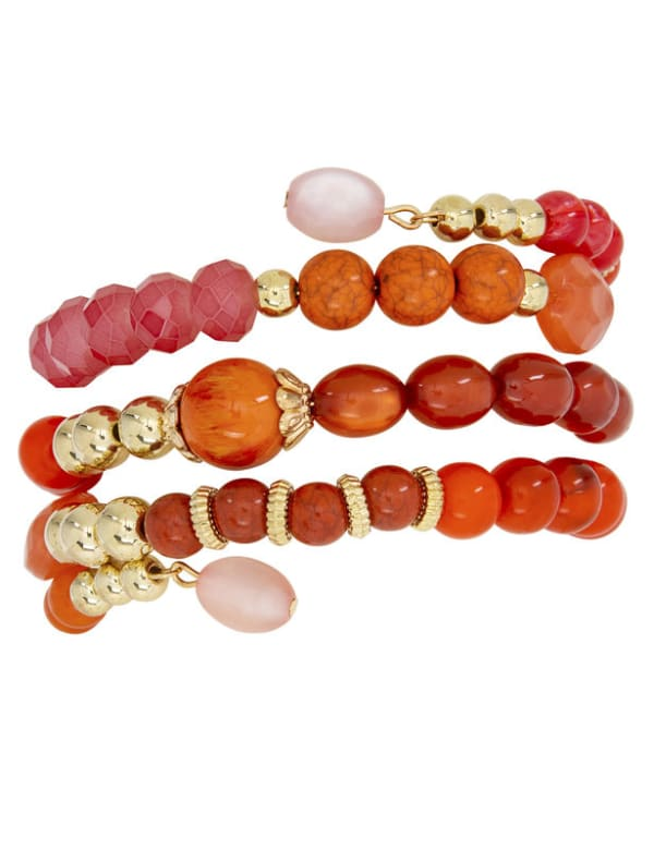 4 Row Multi Bead Coil Bracelet - Coral - Front
