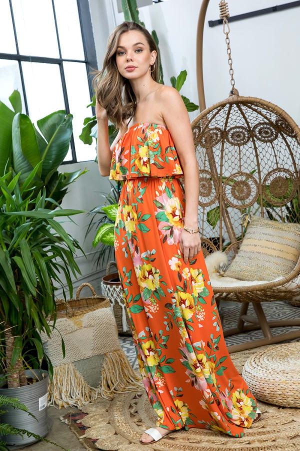 Ruffle Floral Strapless Maxi Dress - Citrus - Front