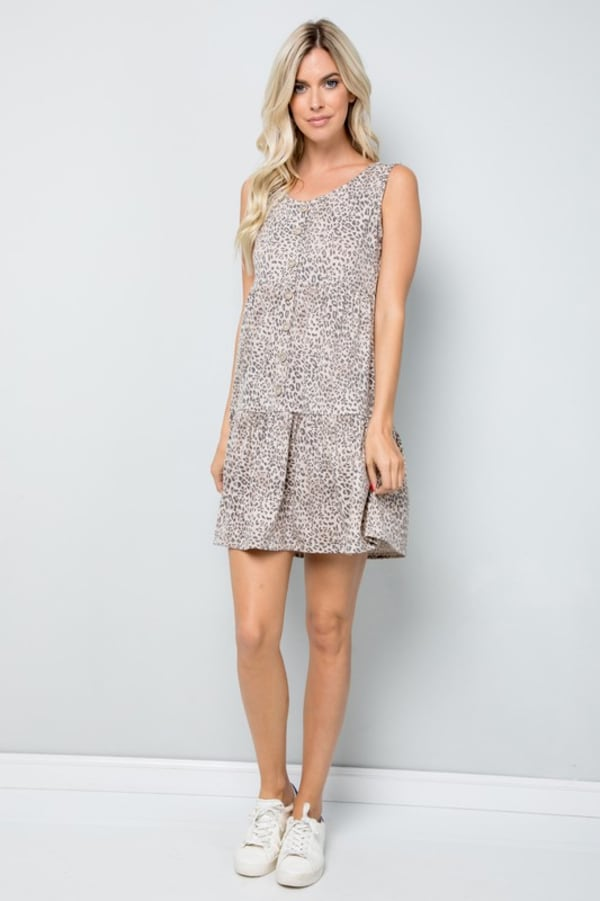 Leopard Short Dress - Mocha - Front