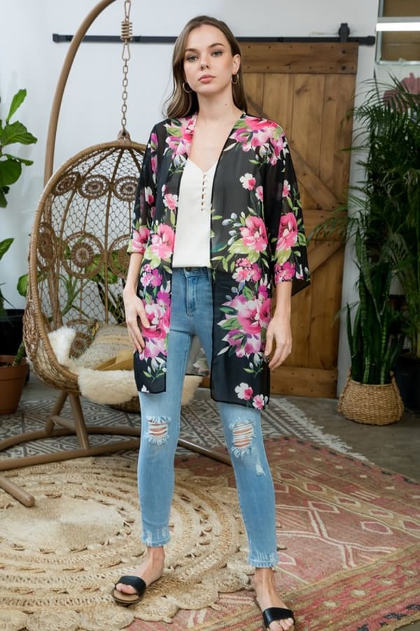 Floral Print Kimono - Black - Front