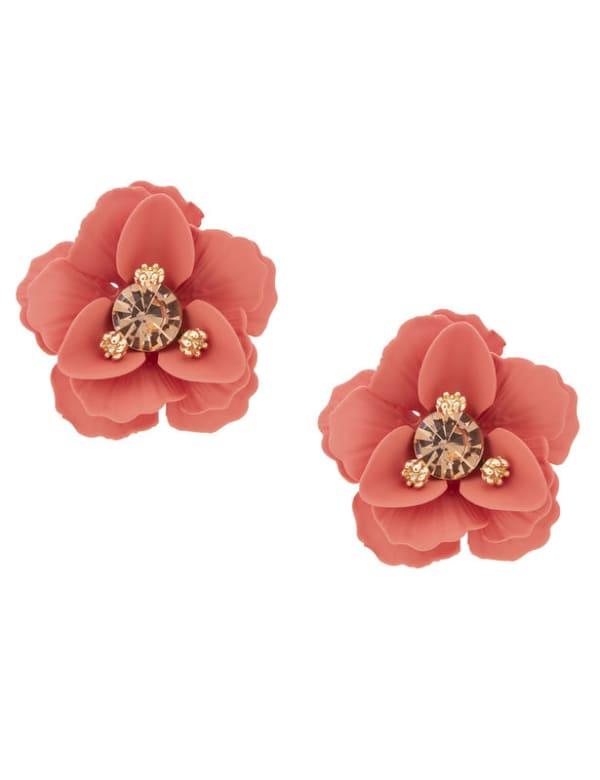 Metal Flower Post Earring - Red - Front