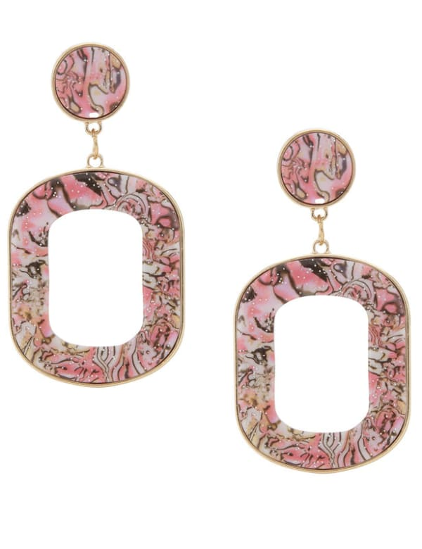 Plexi Abalone Ring Post Earring - Pink - Front