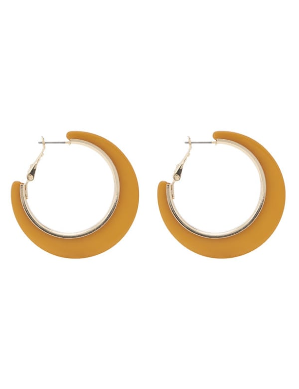 Neutral Plexi Hoop Earring - Gold - Front