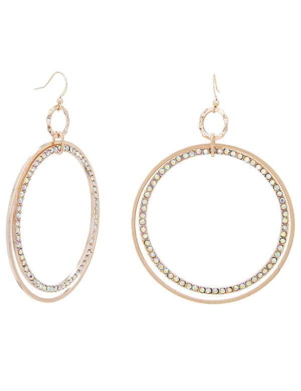 Hammered and Pave Ring Drop Fishhook Earring - Multi - Front