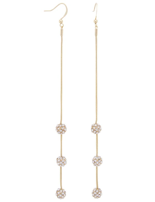 Pave Fireball Chain Linear Post Earring - Gold - Front