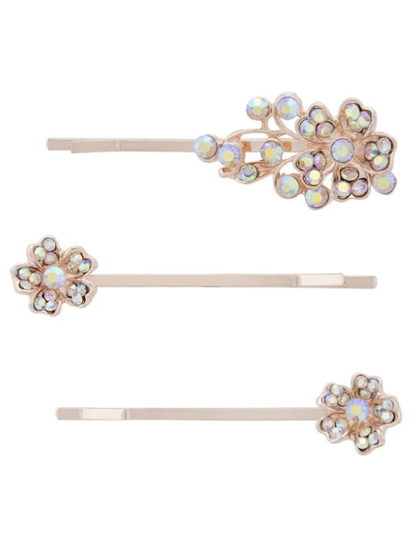 3 pc Floral Hair Pins - Multi - Front