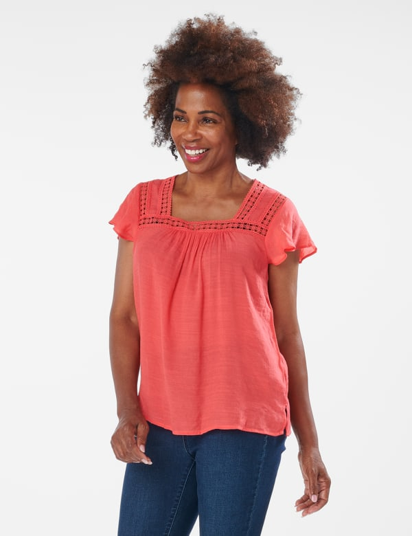 Crochet Trim Textured Square Neck Woven Top - CORAL - Front