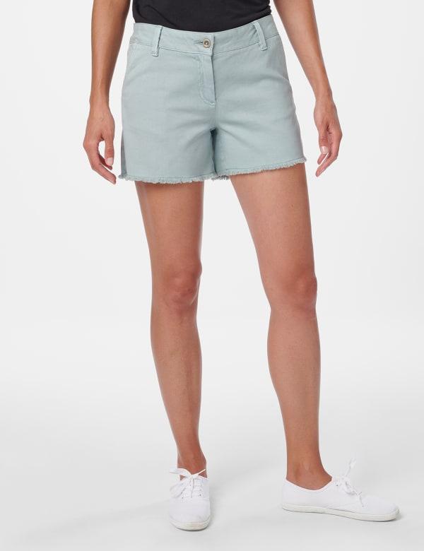 Fly Front Slash Pocket Short with Fray Hem - Aqua Mint - Front
