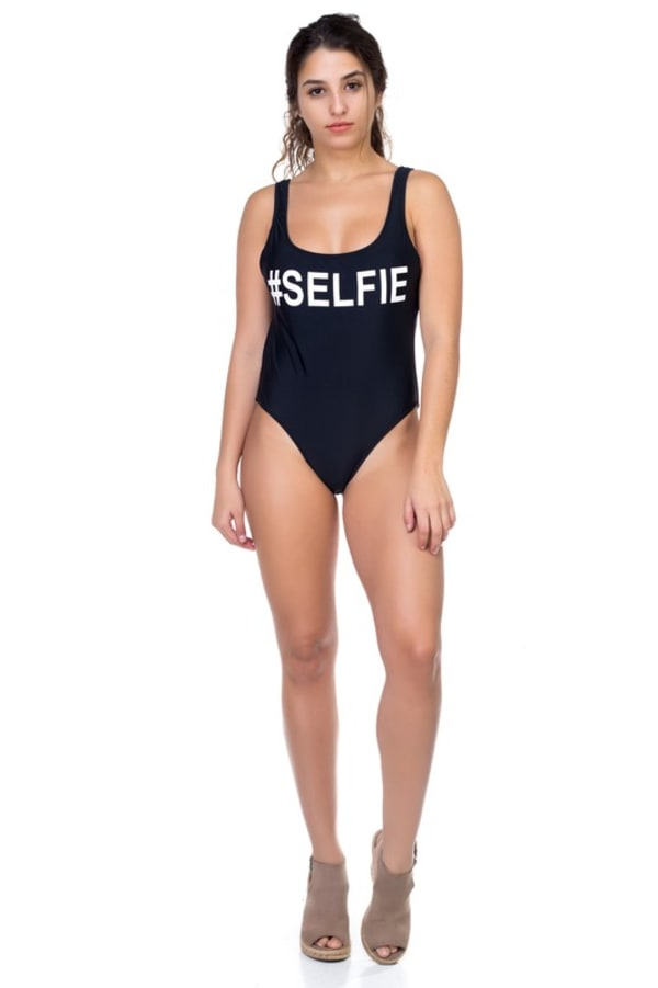 One Piece Selfie Print Swimsuit - Black - Front