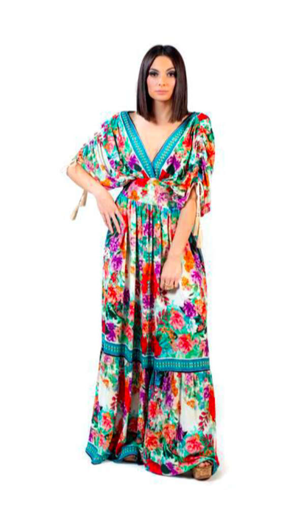 Floral Boho Peasant Dress - Multi - Front
