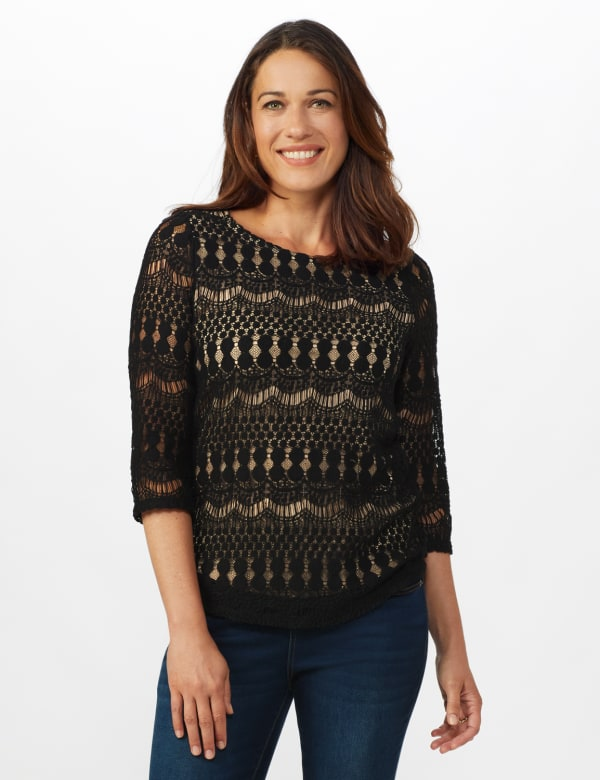 Crochet Lined Knit Top - Black/Nude - Front