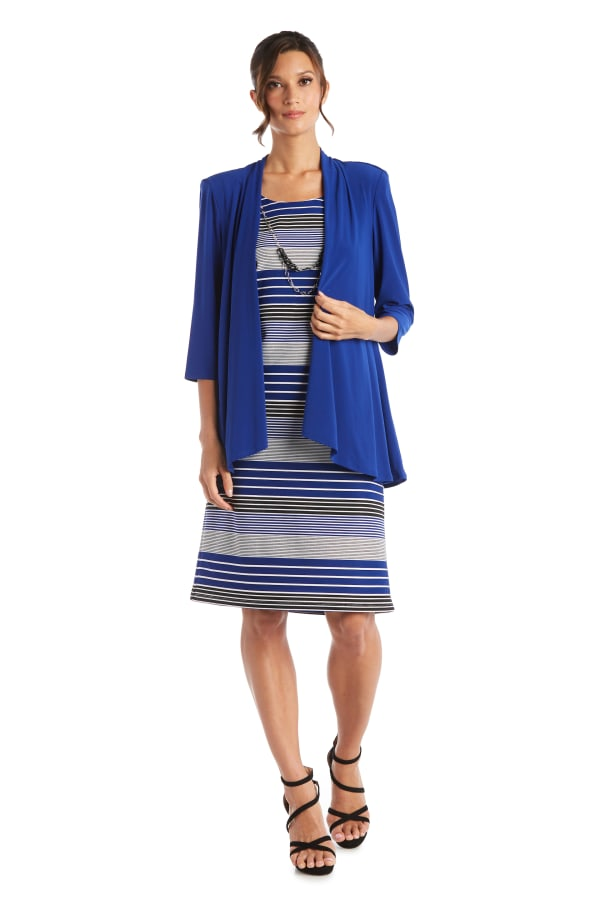Stripe Dress with Jacket - Royal - Front