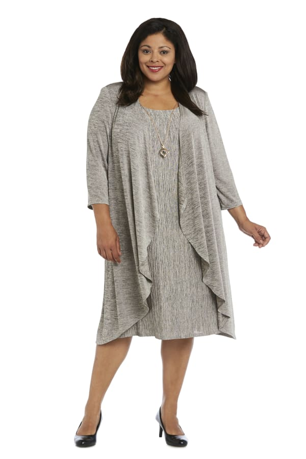 2 Pc Flyaway Pleated Jacket Dress - Plus - Taupe/black - Front