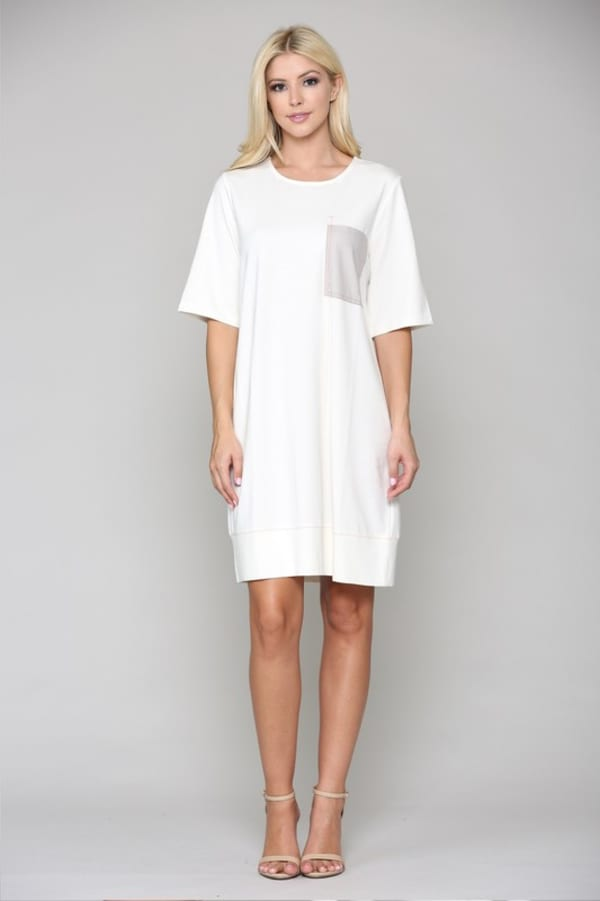 Rylie Tunic Dress - Off-White - Front