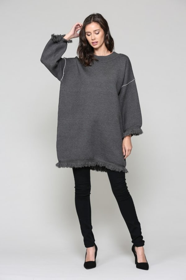 Susie Tunic Top - Charcoal - Front