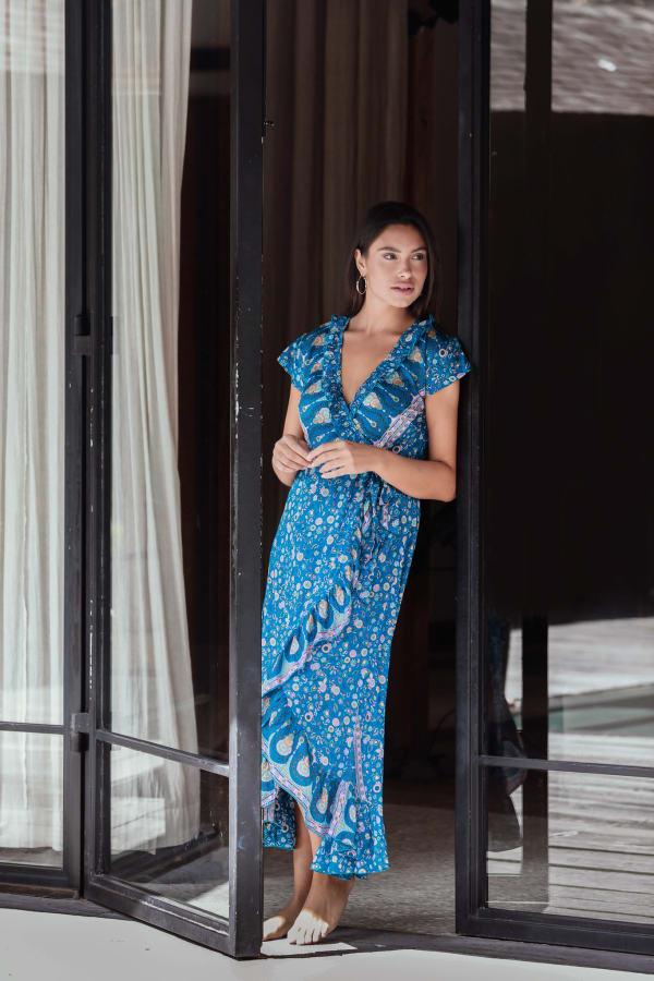 Blue Wrap Maxi Dress - Blue - Front