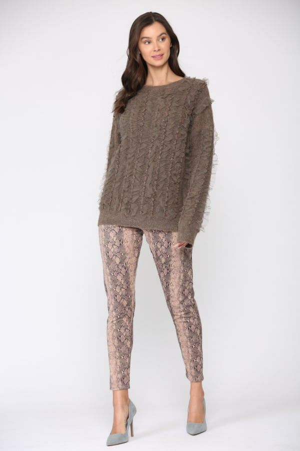 Simone Lace Trim Sweater - Chocolate - Front