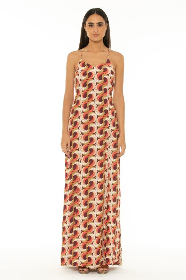 Sleeveless Maxi Dress Escher Wine - Escher Wine - Front