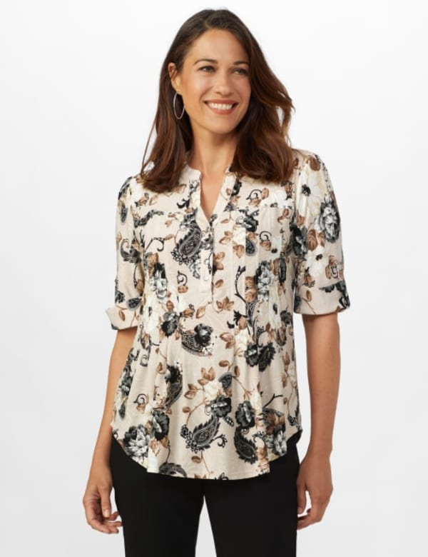 Jaquard Floral Pintuck Popover - Taupe/Grey - Front