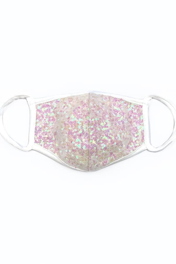 Pink Sparkle Sequin Printed Fashion Face Mask - Pink/White - Front
