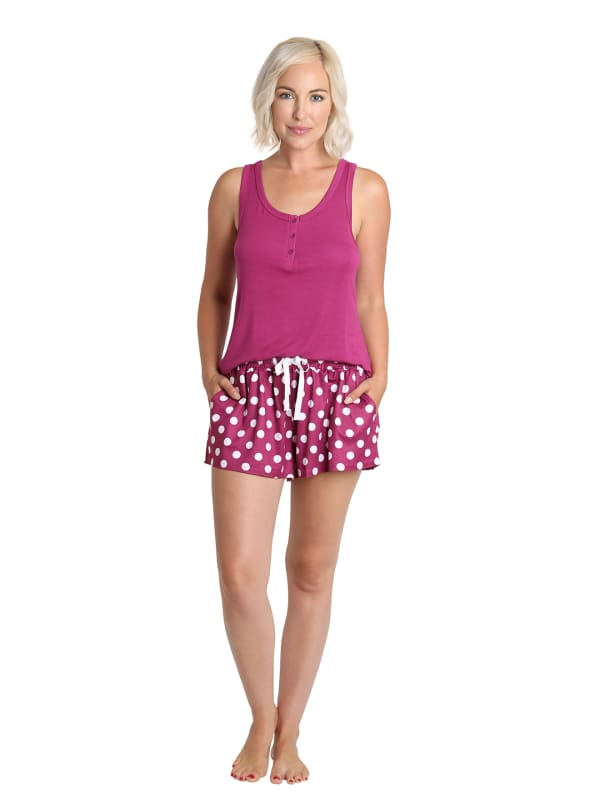 Caribbean Joe Polka Dot Tank & Short Sleepwear Set - Berry - Front
