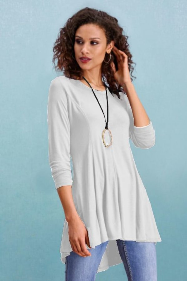 Asymmetrical Tunic Top - Ivory - Front