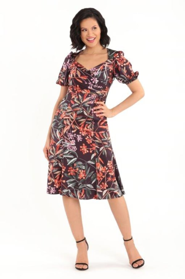 Floral Lisa Dress - Burgundy - Front