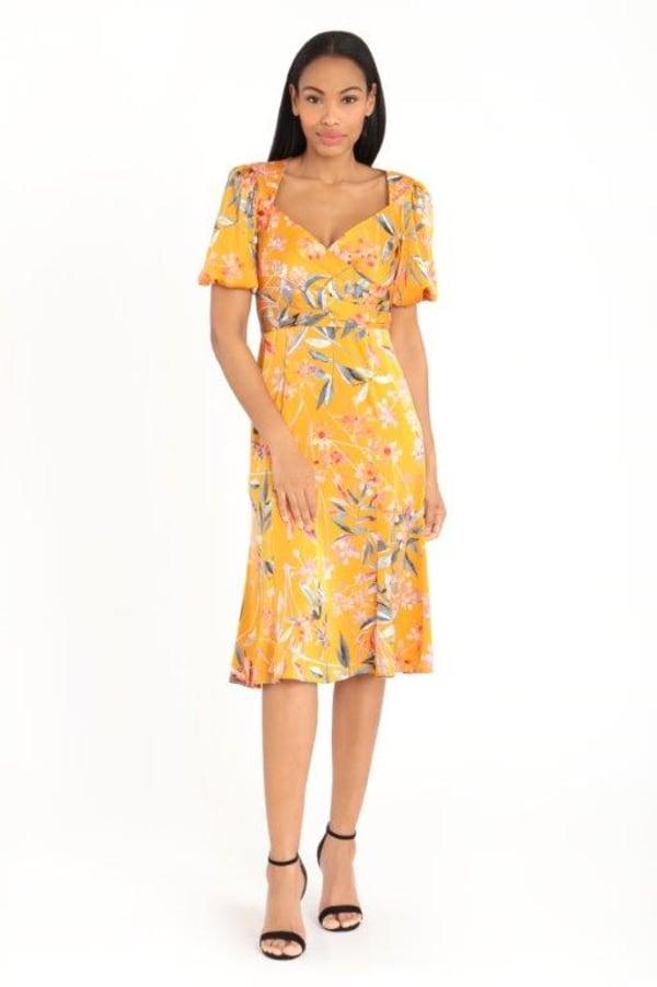 Floral Lisa Dress - gold - Front
