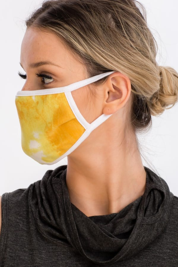 Sky Tie Dye Fashion Face Mask - Yellow - Front