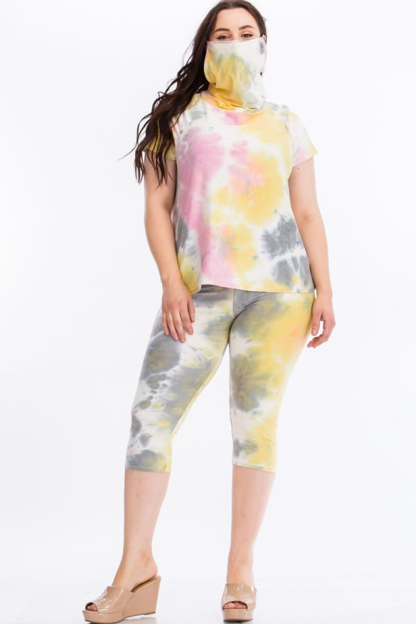 Tie Dye Lounge Set With Built In Mask - Multi - Front