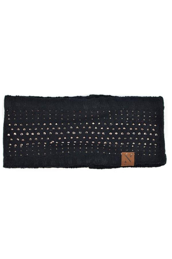 Studded Fleece Lined Winter Headband - Black - Front