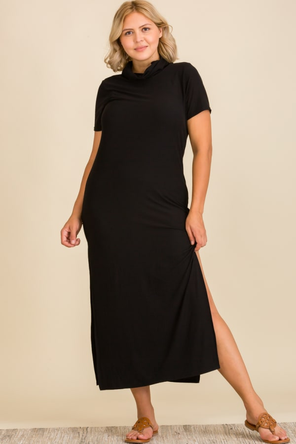 """Never Forget Your Mask"""" Turtle Neck Tunic Dress - Plus - Black - Front"""