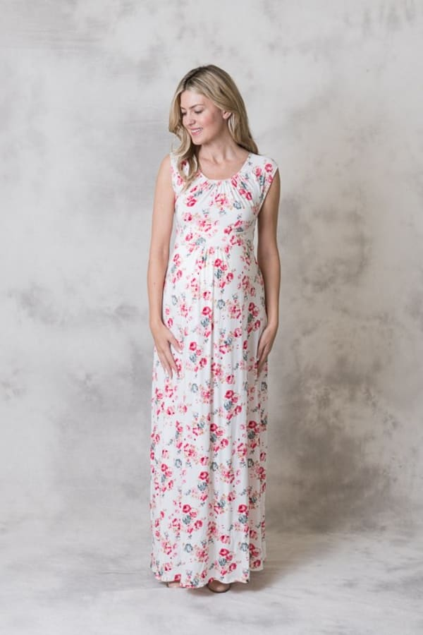 Effortless Maternity Maxi Dress - Ivory / Pink - Front