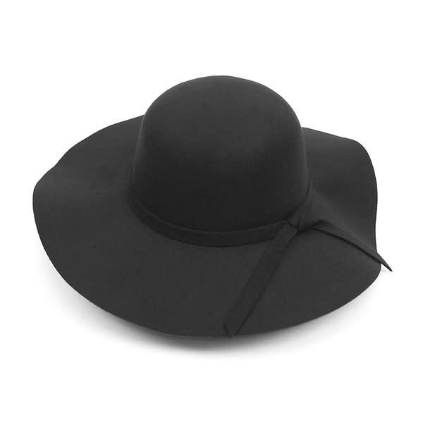 Floppy Wide Brim Bowknot Hat - Black - Front