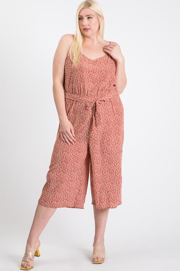 Welcome to Summer Floral Jumpsuit - Rust - Front