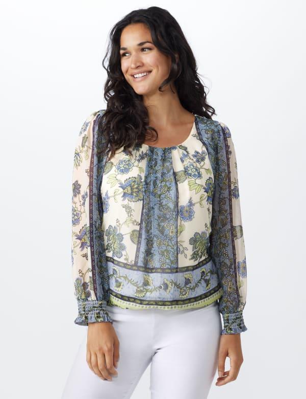 Floral Bubble Hem Blouse - Offwhite/Blue/Green - Front
