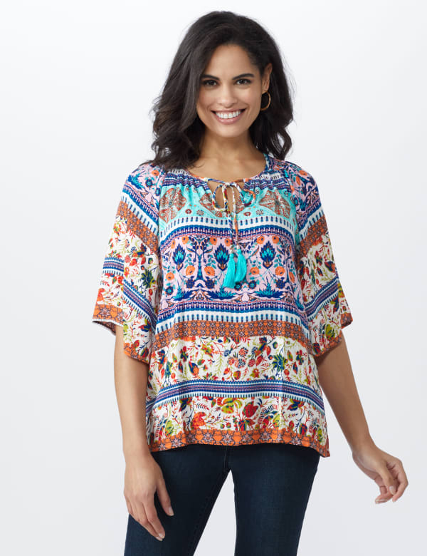 Global Tapestry Peasant Woven Top - Misses - Multi - Front