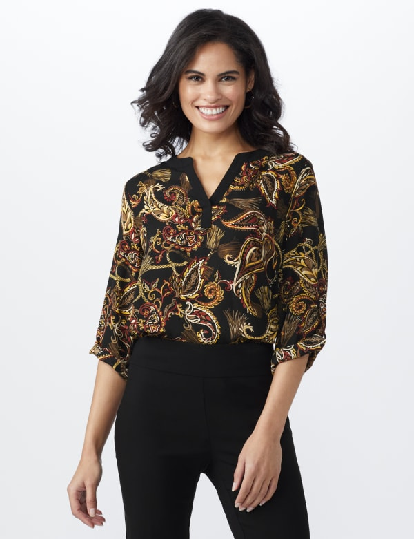 Paisley Solid Trim Woven Popover - Tan Combo - Front